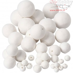 Cotton Ball Mix, D: 12+15+20+30+40+50 mm, white, 42pcs