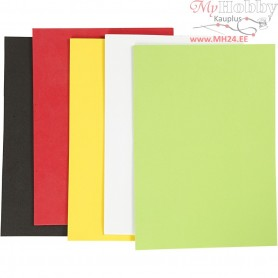 EVA Foam Sheets, A5 15x21 cm, thickness 2 mm, asstd. colours, basic, 5sheets