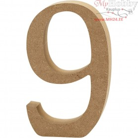 Number, 9, H: 13 cm, thickness 2 cm, MDF, 1pc