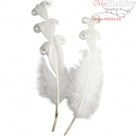Curly duck feathers, L: 14-16 cm, approx. 3 g, white, 12pcs