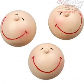 Smiley Head, D: 25 mm, 4pcs