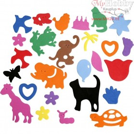 90 Foam Animals EVA Colourful Shapes Craft Self Adhesive 25-45mm 2mm Thick