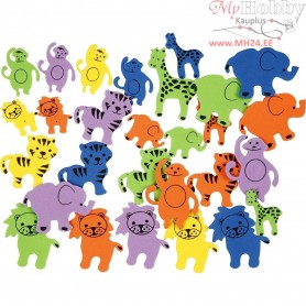 Eva Foam Shapes, size 25-45 mm, thickness 2 mm, animals with print, 90mixed