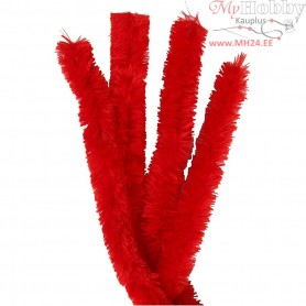 Pipe Cleaners, thickness 30 mm, L: 40 cm, red, 4pcs