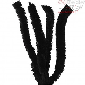 Pipe Cleaners, thickness 30 mm, L: 40 cm, black, 4pcs