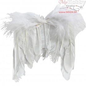 Feather Wings, W: 11 cm, white, 10pcs