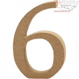 Number, 6, H: 13 cm, thickness 2 cm, MDF, 1pc