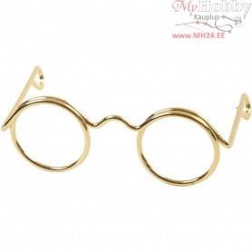 Novelty Glasses, W: 35 mm, hole size 13 mm, gold, 10pcs
