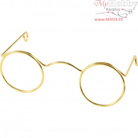 Novelty Glasses, W: 60 mm, hole size 21 mm, gold, 10pcs