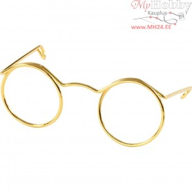 Novelty Glasses, W: 50 mm, hole size 17 mm, gold, 10pcs