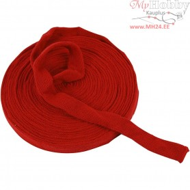 Knitted Tube, W: 22 mm, christmas red, 10m