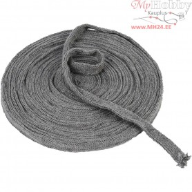 Knitted Tube, W: 15 mm, grey, 10m