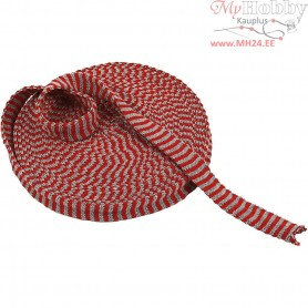 Knitted Tube, W: 22 mm, christmas red/grey, 10m