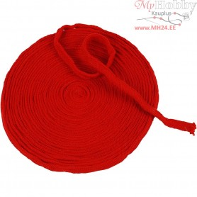 Knitted Tube, W: 10 mm, christmas red, 10m
