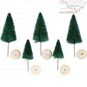 Christmas Spruce Trees, H: 40+60 mm, green, trees, 5pcs