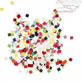 Card Mosaics, size 10x10 mm, asstd colours, square, 180g