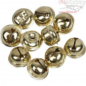 Bells, D: 13+15+17 mm, gold, 12mixed