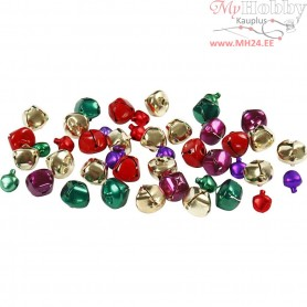 Bells, D: 10+14 mm, metallic colours, 24mixed