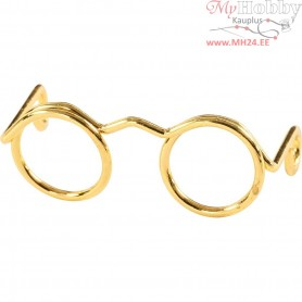 Novelty Glasses, W: 25 mm, inner size 9 mm, gold, 10pcs