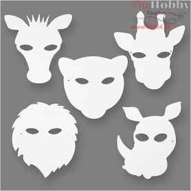 Jungle Animal Masks, H: 22,5-25 cm, W: 20,5-22,5 cm, 16pcs, 230 g