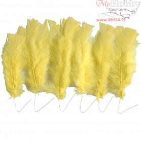 Feathers, L: 11-17 cm, yellow, 18bundles