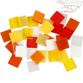 Mini Mosaic, size 10x10 mm, thickness 2 mm, red/orange harmony, 25g