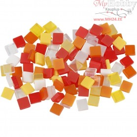 Mini Mosaic, size 5x5 mm, thickness 2 mm, red/orange harmony, 25g