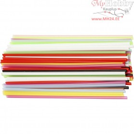 Construction Straw, L: 12,5 cm, D: 3 mm, asstd colours, 3200mixed
