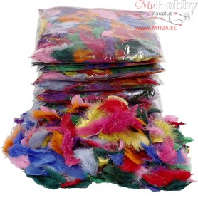 Feathers, size 7-8 cm, asstd colours, 500g