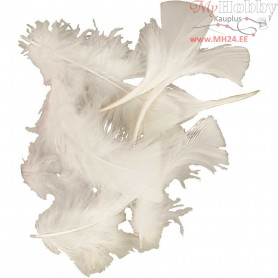Feathers, size 7-8 cm, approx. 375 pc, white, 50g