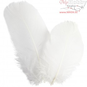 Goose feathers, round, approx. 8 cm, white, 3g