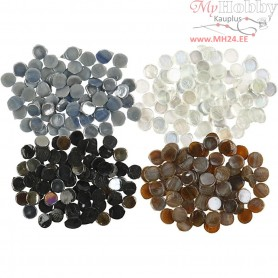 Mosaics, D: 10 mm, thickness 2 mm, brown, grey, white, black, 2. sort, 1000g