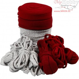 Knitted Tube, W: 10-40 mm, grey, antique red, 50x1m