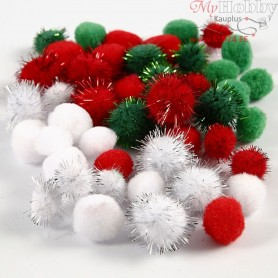 Pompoms, D: 15+20 mm, green, white, red, 48mixed