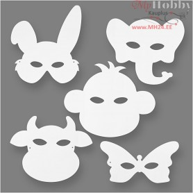 Animal Masks, H: 13-24 cm, W: 20-28 cm, 16pcs, 230 g