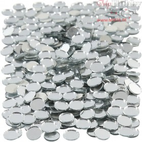 Mirror Mosaic Tiles, D: 10 mm, thickness 2 mm, round, 500pcs