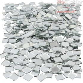 Mirror Mosaic Tiles, size 10x10 mm, thickness 2 mm, Square, 500pcs