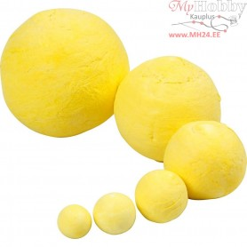 Ball Mix, D: 12+15+20+30+40+50 mm, yellow, cotton, 90mixed