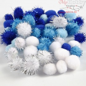 Pompoms, D: 15+20 mm, light blue, dark blue, white, 48mixed