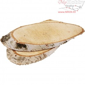 Wood Slices, approx. 15x9 cm, thickness 15 mm, 7pcs