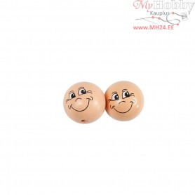 Heads, D: 30 mm, wood, 10pcs