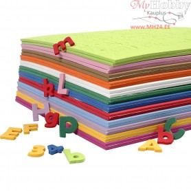 EVA Foam Letters & Numbers, H: 20 mm, thickness 3 mm, asstd colours, 24mixed sheets