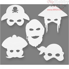 Pirate Masks, H: 16-26 cm, W: 17,5-26,5 cm, 16pcs, 230 g