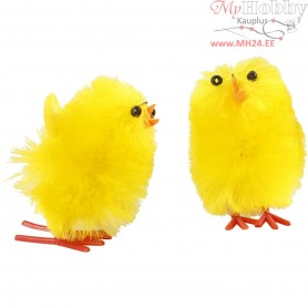 Easter Chicks, H: 30 mm, yellow, 12mixed