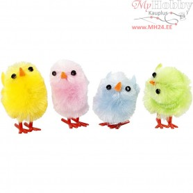 Easter Chicks, H: 30 mm, pastel colours, 12mixed