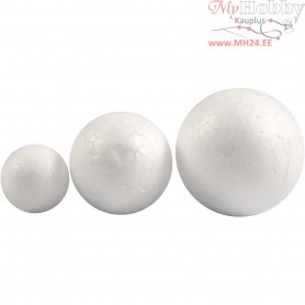 Polystyrene Ball Assortment, D: 20+30+40 mm, white, polystyrene, 12pcs