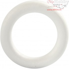 Ring, outer size 12 cm, thickness 20 mm, white, polystyrene, 1pc