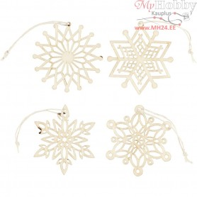 Ornaments, D: 7 cm, thickness 0,3 mm, plywood, 8pcs