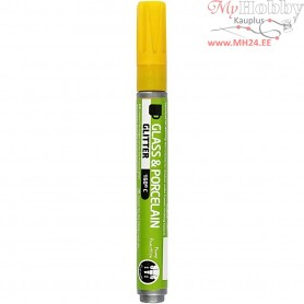 Glass & Porcelain Pens, line width: 2-4 mm, yellow, glitter - semi opaque, 1pc