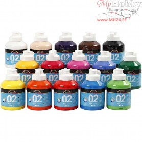 A-Color Acrylic Paint, asstd colours, 02 - matt, 15x500ml